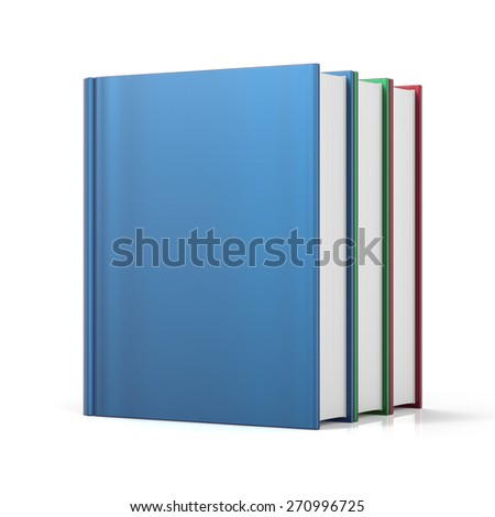 Books three 3 colorful blank cover no labels. School learning information content icon concept. 3d render isolated on white background - stock photo