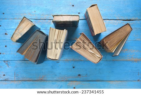 books, top view, free copy space - stock photo