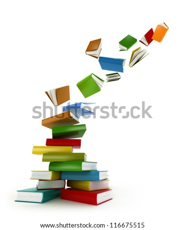 Books Tornado . Isolated on white - stock photo