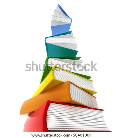 Books tower wants to flay . Isolated on white.