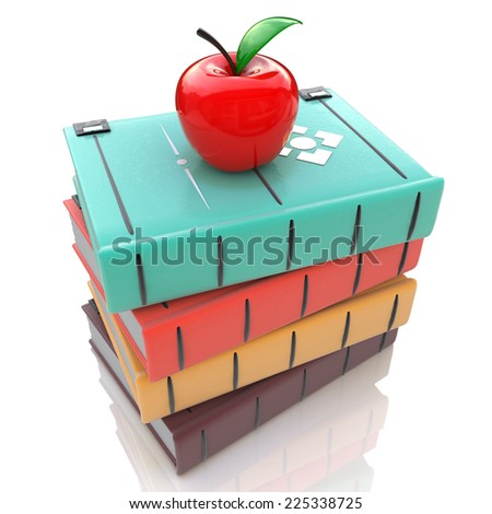 Books tower with red apple isolated on white background. Education concept - stock photo
