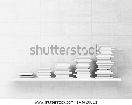 books with blank covers on a shelf - stock photo