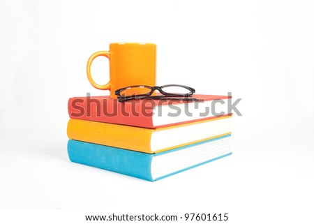 Books with Cup - stock photo