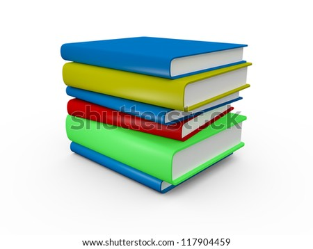 Books with different colors, isolated on white background.