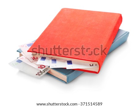 Books with nested euro banknotes, isolated on white. Stash of money - stock photo
