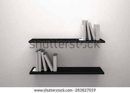 Books Wooden shelves - stock photo