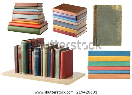 Bookshelf and book stacks on white background - stock photo