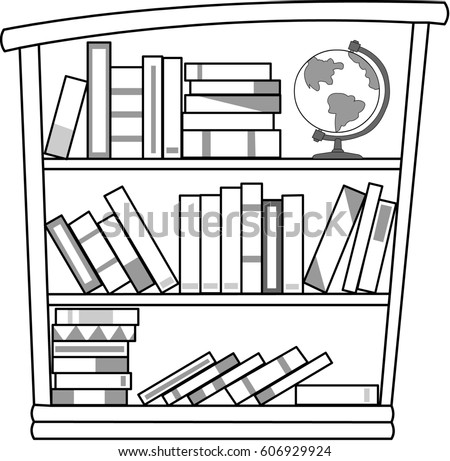 Bookshelf Black White Stockillustration 606929924 Shutterstock Rh Com