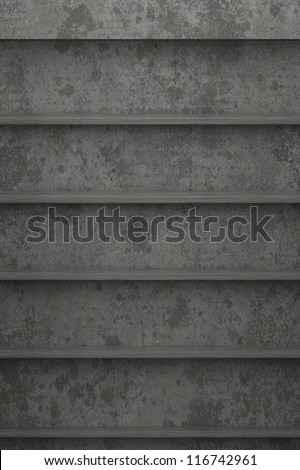Bookshelf concrete - stock photo