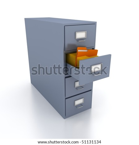 Bookshelf for documents . 3d render