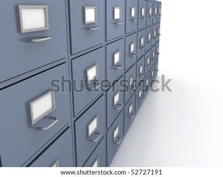 Bookshelf for documents . 3d render - stock photo