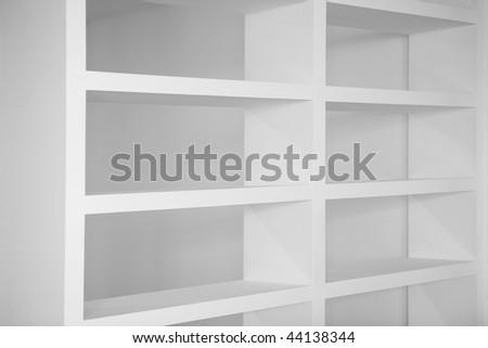 bookshelf in white empty blank shelves interior house - stock photo