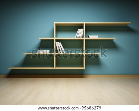 Bookshelf on the wall with books and dvd - stock photo