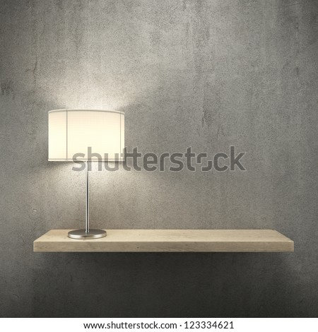 bookshelf on the wall with lamp. 3d render - stock photo
