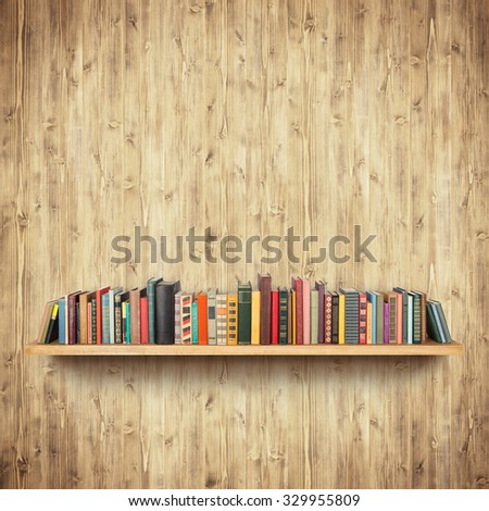 Bookshelf on yellow wooden wall - stock photo