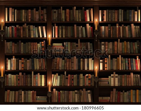 Bookshelf. Seamless texture. Background. Mysterious library with candle lighting. - stock photo