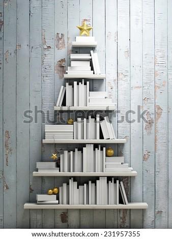 bookshelf shaped christmas tree, background - stock photo