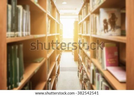 bookshelf straight class in library - stock photo