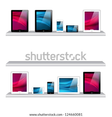 bookshelf, tablet computers and mobile phone icons - isolated on white background - stock photo