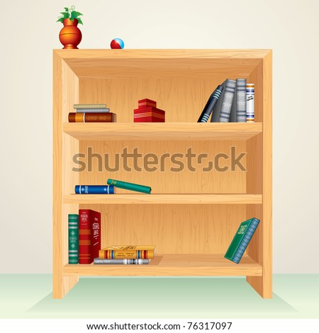 Bookshelf with books, magazines and other items