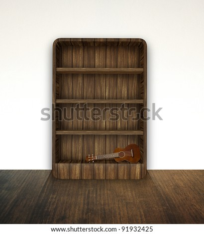 bookshelf with ukulele - stock photo