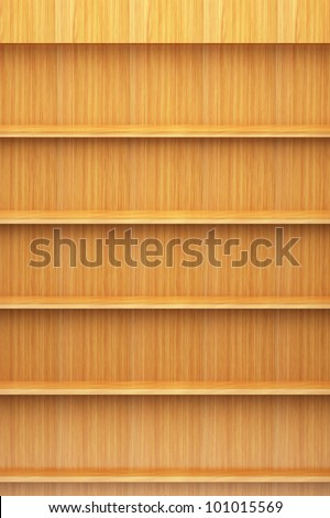 Bookshelf wooden - stock photo