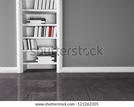 bookshelves in the niche, rendering - stock photo