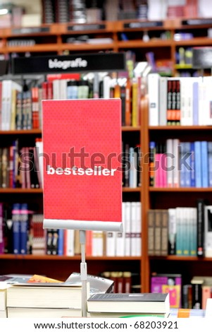 Bookstore and special area with bestsellers books - stock photo