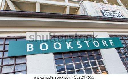 Bookstore at Alcatraz Island, USA.