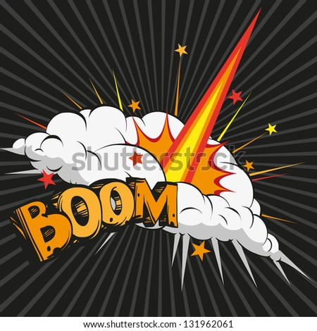 Boom.Comic book explosion, raster - stock photo
