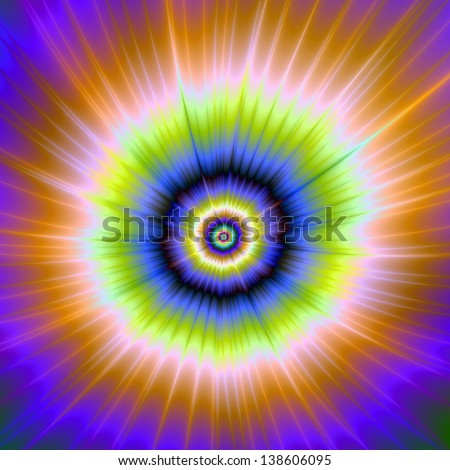 Boom / Digital abstract fractal image with a colorful explosive design in pink, blue, yellow and green.