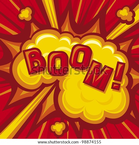 Boom - Explosion (Comic Book Explosion Background) - stock photo
