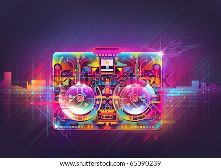 Boombox illustration,glowing shinny abstract in the urban night. - stock photo