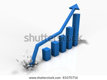 Booming business bar graph - stock photo