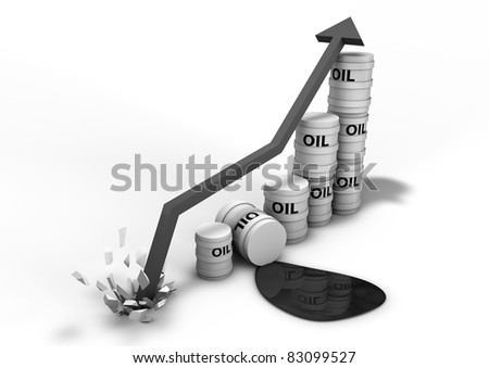 Booming oil graph - stock photo