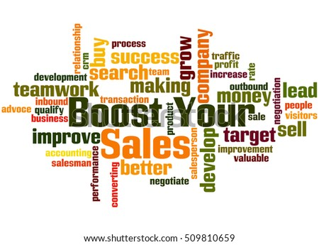 Boost Your Sales, word cloud concept on white background.