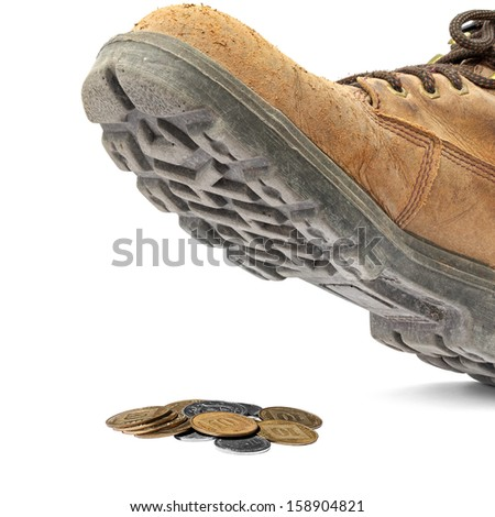 Boot steps on a Israeli coins isolated on the white background. Concept of monetary inflation - stock photo