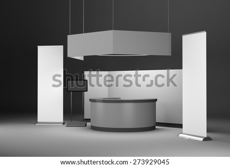 booth design in exhibition with tv displays and rollups. 3D rendering - stock photo