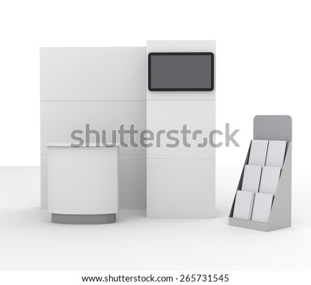 booth mock-up with tv display from front view - stock photo