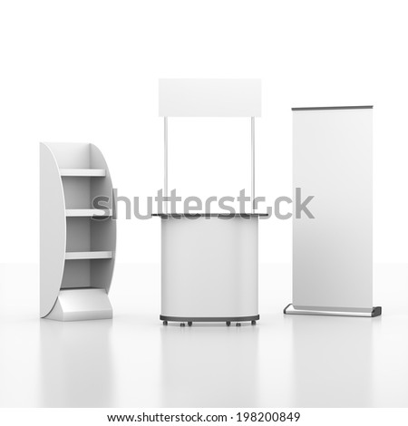 booth or kiosk with rollup and display from front view isolated on white. 3d render - stock photo