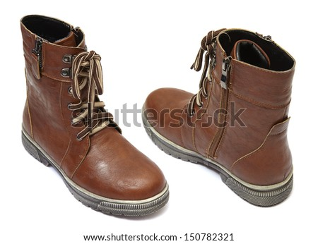 Boots isolated on white - stock photo