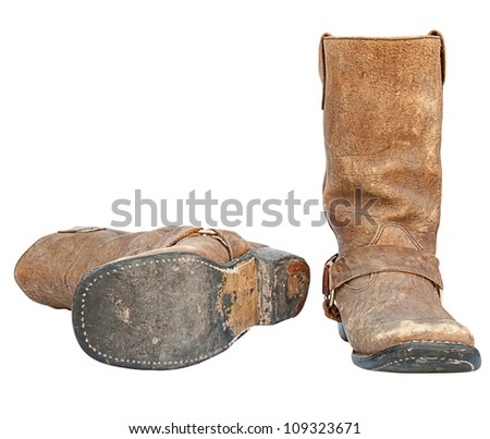 Boots on a white background. - stock photo