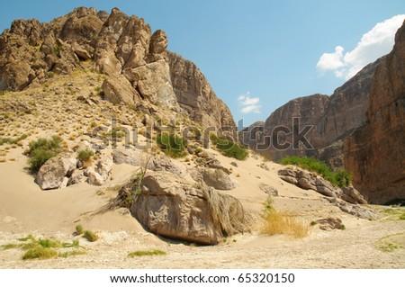 Boquillas Canyon and Rio Grande River - stock photo