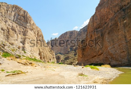 Boquillas Canyon with the Rio Grande River flowing through it in Big Bend National Park, along the Mexican border - stock photo
