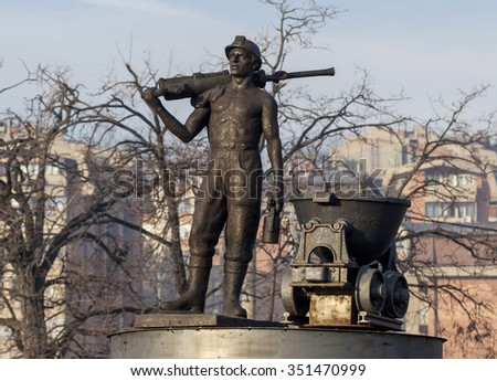 Bor, Serbia,- December, 12.2015.: Monument to the miner at the entrance to the mining town - stock photo
