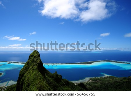 bora bora and otemanu mt. - stock photo