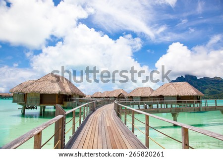 Bora Bora.  Bridge to over water bungalow.  Paradise in Bora Bora - stock photo
