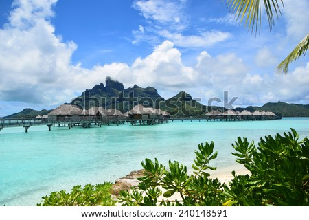 Bora Bora Overwater Bungalow with Mount Otemanu - stock photo