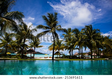 Bora Bora, Pool, Beach and Palm Trees - stock photo