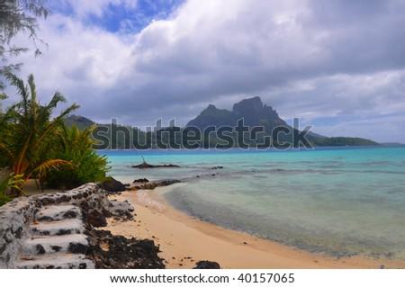 Bora Bora's Lagoon in Tahiti. - stock photo